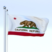 Animated California Flag 3D Model
