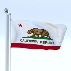 Animated California Flag 3D Model