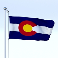 Animated Colorado Flag 3D Model