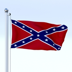 Animated Confederate Flag 3D Model