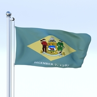 Animated Delaware Flag 3D Model