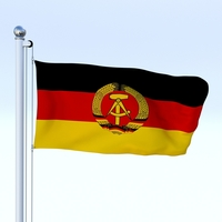 Animated East Germany Flag 3D Model