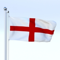 Animated England Flag 3D Model