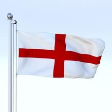 Animated England Flag 3D Model
