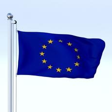 Animated European Union Flag 3D Model