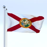 Animated Florida Flag 3D Model