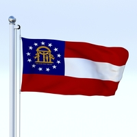 Animated Georgia Flag 3D Model