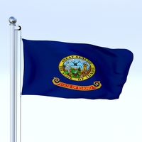Animated Idaho Flag 3D Model