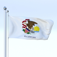 Animated Illinois Flag 3D Model