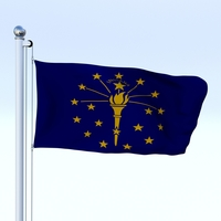 Animated Indiana Flag 3D Model