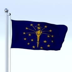 Animated Indiana Flag 3D Model