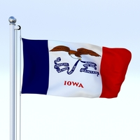 Animated Iowa Flag 3D Model