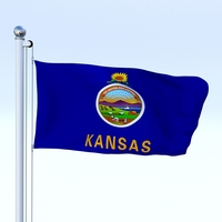 Animated Kansas Flag 3D Model
