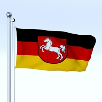 Animated Lower Saxony German State Flag 3D Model