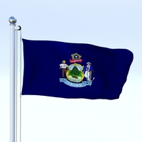 Animated Maine Flag 3D Model