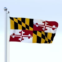 Animated Maryland Flag 3D Model