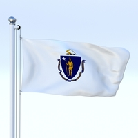Animated Massachusetts Flag 3D Model