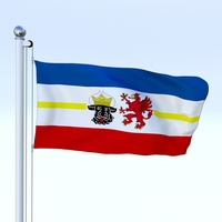 Animated Mecklenburg-Western Pomerania German State Flag 3D Model