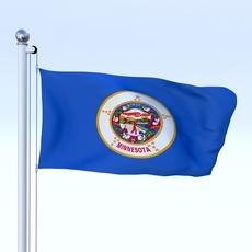 Animated Minnesota Flag 3D Model