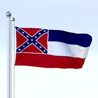 Animated Mississippi Flag 3D Model