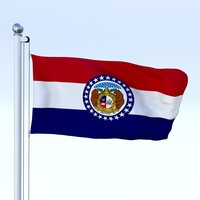 Animated Missouri Flag 3D Model