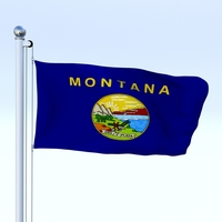 Animated Montana Flag 3D Model