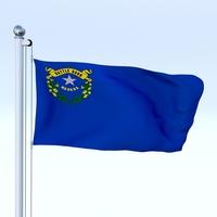 Animated Nevada Flag 3D Model