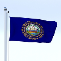 Animated New Hampshire Flag 3D Model