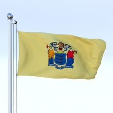 Animated New Jersey Flag 3D Model