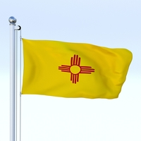 Animated New Mexico Flag 3D Model