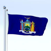 Animated New York Flag 3D Model