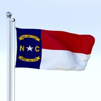 Animated North Carolina Flag 3D Model