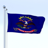 Animated North Dakota Flag 3D Model