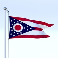 Animated Ohio Flag 3D Model