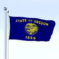 Animated Oregon Flag 3D Model