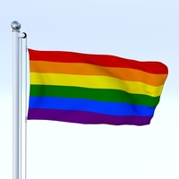 Animated Rainbow Flag 3D Model