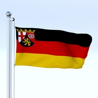 Animated Rhineland-Palatinate German State Flag 3D Model