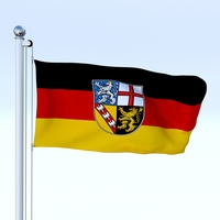 Animated Saarland German State Flag 3D Model