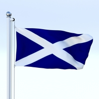 Animated Scotland Flag 3D Model