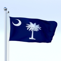 Animated South Carolina Flag 3D Model