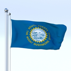 Animated South Dakota Flag 3D Model