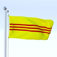 Animated South Vietnam Flag 3D Model