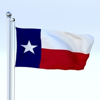Animated Texas Flag 3D Model