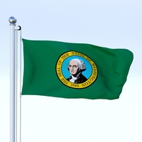 Animated Washington Flag 3D Model