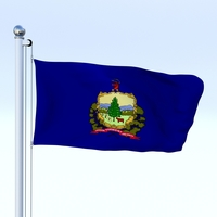 Animated Vermont Flag 3D Model
