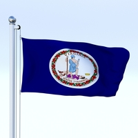 Animated Virginia Flag 3D Model