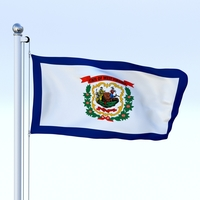 Animated West Virginia Flag 3D Model