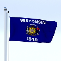 Animated Wisconsin Flag 3D Model