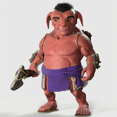 Tribal Goblin --PBR-Rigged-Animated-- 3D Model