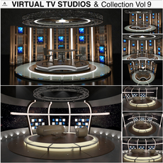 Virtual TV Studio Chat Sets Collection 9 3D Model